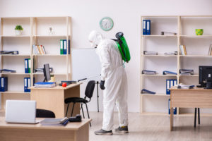 What are recommendations on cleaning and disinfecting offices